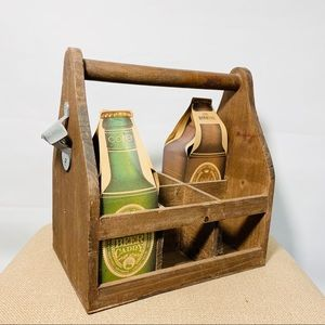 Wooden beer bottle can caddy carrier